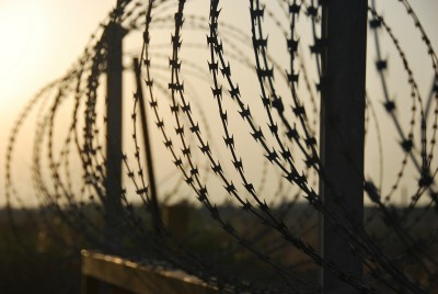 Photo of barbed wire fence in West Bank