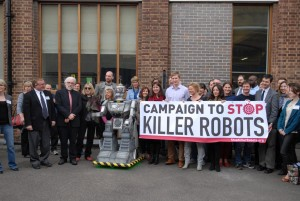 Great photo from the first NGO Conference of the Campaign to Stop Killer Robots in London, complete with the talking robot David Wreckham!