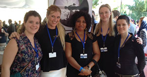Picture of WILPF's Disarmament team. From left; Mia Gandenberger, Beatrice Fihn, Joy Ada Onyesoh of WILPF Nigeria, Gabriella Irsten and Ray Acheson.