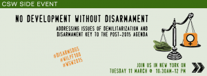 """""""No Development without Disarmament"""" Side event flyer"""