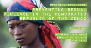 Preventing Sexual Violence in DRC flyer with picture of DRC woman, title of event and room and time