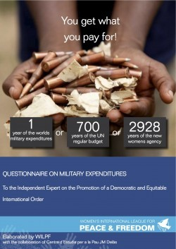 Cover page of WILPF's Questionnaire on Military Expenditures showing title and a picture of a hand holding used bullets.