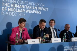 "At the end of the conference, Austria delivered the ""Austrian Pledge"" in which it committed to work to ""fill the legal gap for the prohibition and elimination of nuclear weapons."""