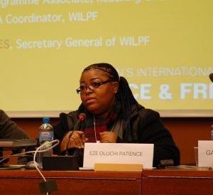 WILPF Nigeria member Eze Oluchi Patience describing the impact of explosive weapons.