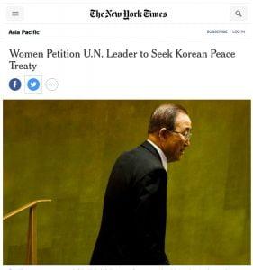 Women Petition UN Leader to seek Korean Peace Treaty