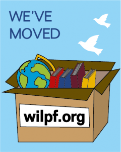 Poster with the text: We've moved (box with wilpf.org)