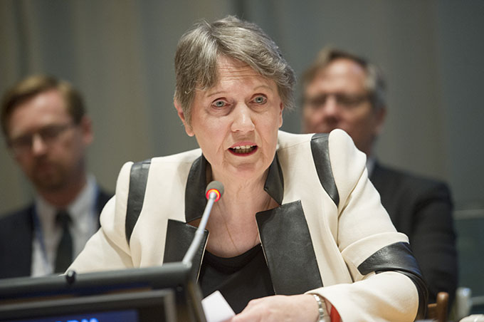 Ms. Helen Clark, Administrator of the United Nations Development Programme (UNDP), focused on the importance of access to schooling, full equal rights in society, and elimination of forced marriages for young women, especially in conflict zones, at the 2016 HLPF.