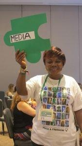 Sylvie Ndongmo, WILPF- Cameroon, at the Media breakout session. Photo: Orla Sheridan.