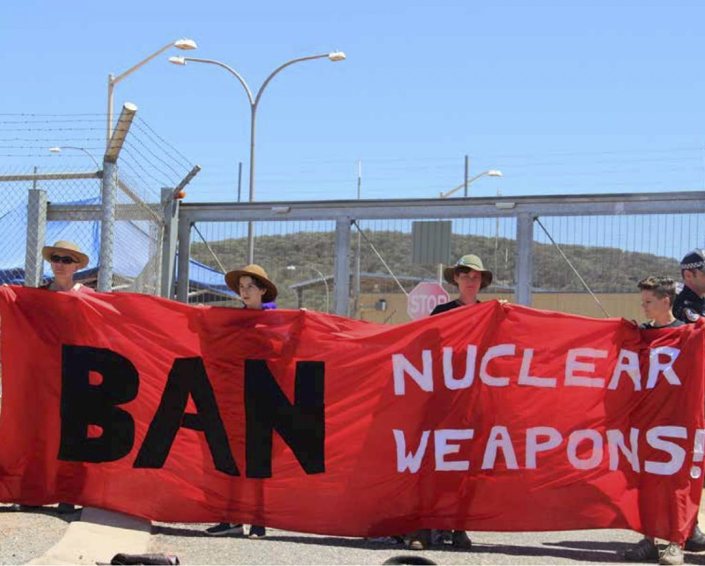 Protest at Alice Springs, Australia as part of #ClosePineGap 2016.