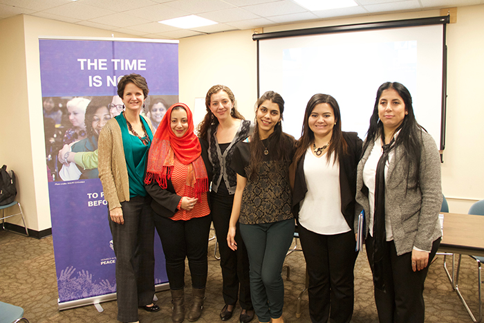 WILPF International and the special delegation of women leaders from Syria, Libya and Yemen in New York. Photo credit: Marina Kumskova, WILPF PeaceWomen.