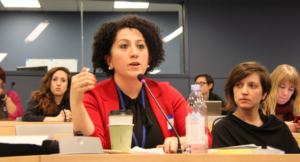 Hivin Kako, Executive Director of the Bihar Relief Organisation, speaks at WILPF and MADRE's symposium during CSW 60 on March 15th. (Photo: WILPF/Marta Bautista)