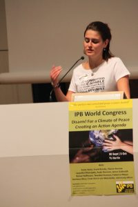 Marie Cucurella, Young WILPF International Coordinator at the IPB World Congress 2016 in Berlin. Photo: IPB.
