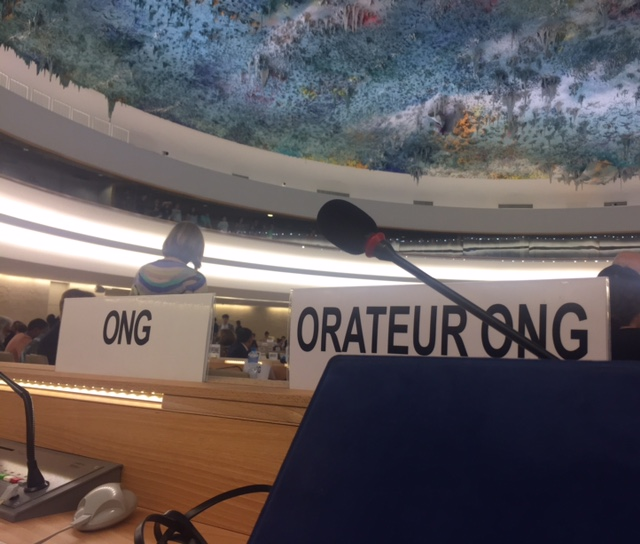 The only two seats marked for NGOs in room 20 (where the Human Rights Council meets)