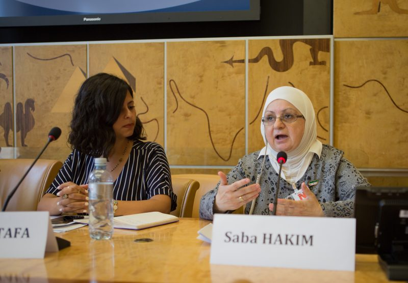 Saba Hakim speaking at the Syrian Women's Political Movement/