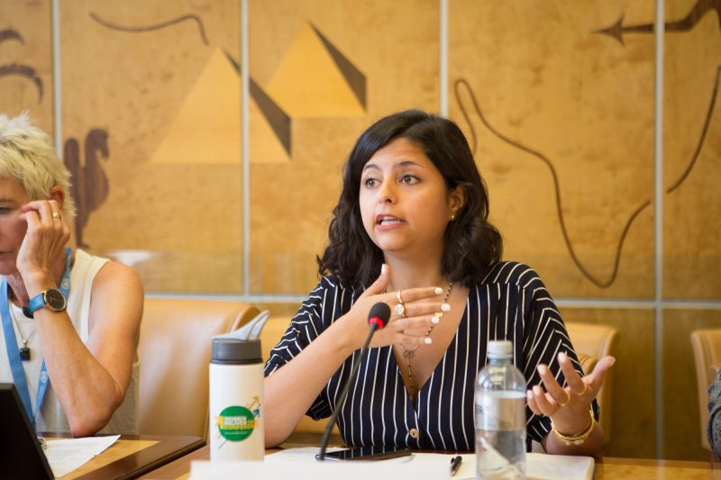 Sana Mustafa speaking at the Syrian Women's Political Movement/WILPF side event during the 41st Session of the Human Rights Council.  Photo credit: WILPF/Itab Azzam
