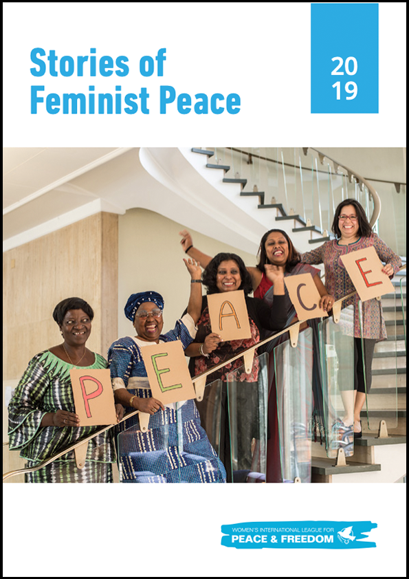 "front cover of annual report showing five women on a staircase each holding a letter of the word PEACE. The title says ""Stories of Feminist Peace"" with the date 2019"