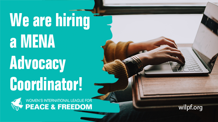 """text in white on a green background saying """"We are hiring a MENA Advocacy Coordinator"""" with a photo of hands typing on a laptop"""