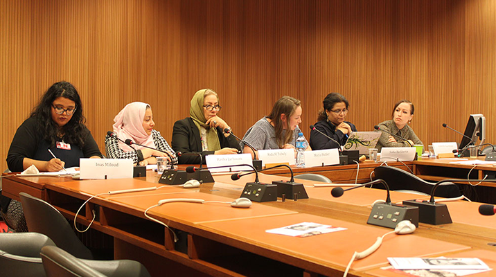 Six women participants sitting at the 36th session of the Human Rights Council in Libya