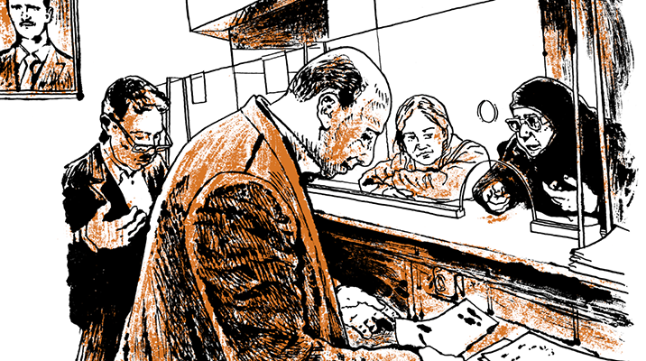Drawing of two women speaking to two men through a glass divider