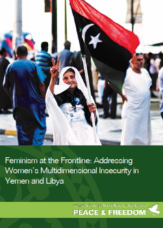 Report cover: Feminism at the frontline in Yemen and Libya