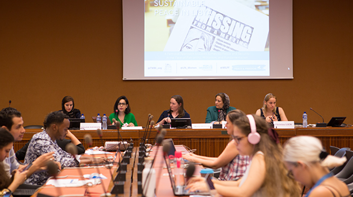 Four women speaking at HRC39 Side Event on Libya.