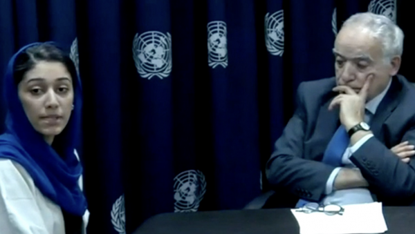 Hajer Sharief, WILPF partner and peace activist from Libya briefs UNSC on Libya 2019