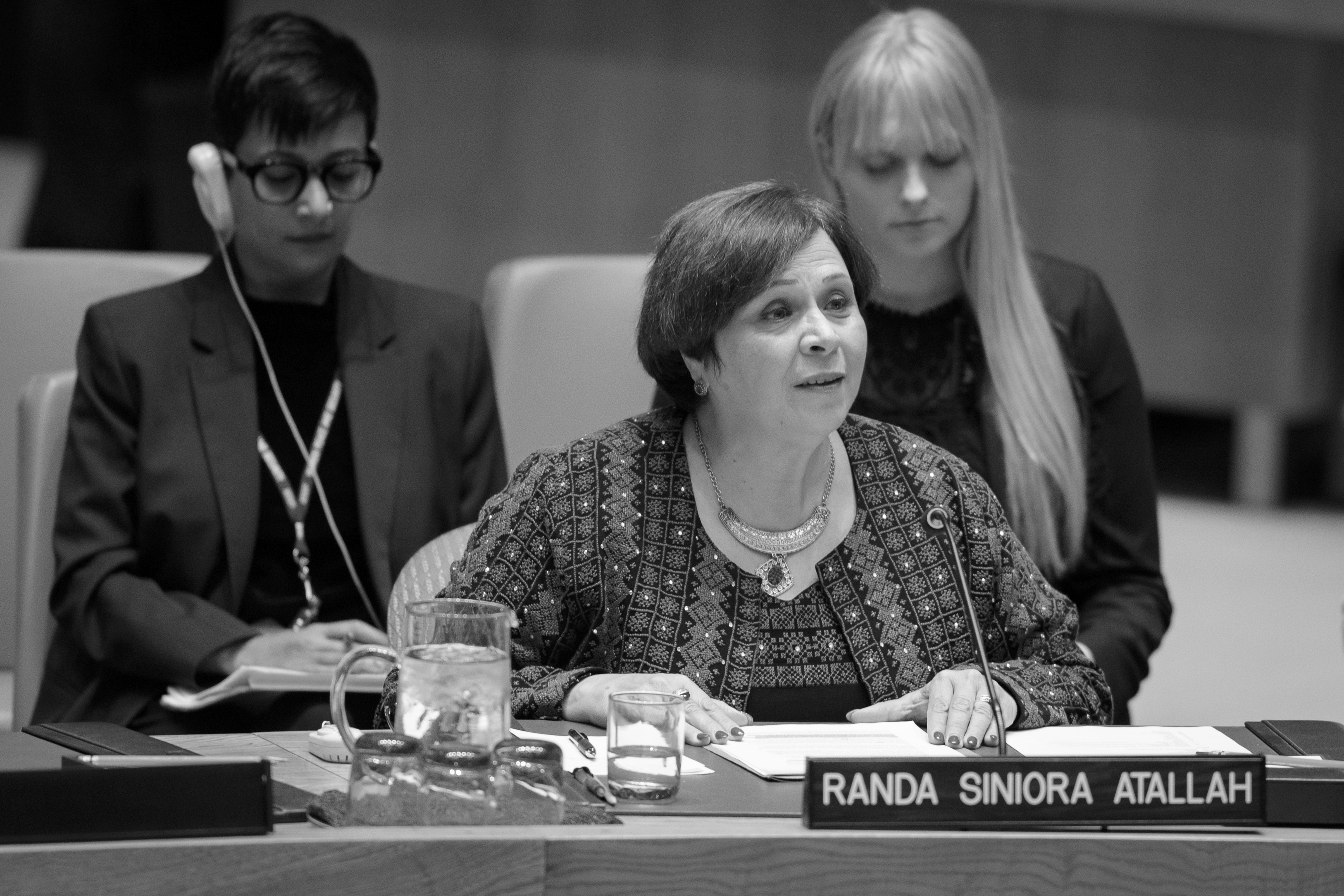 """Randa Siniora: """"Palestinian women who have grown up under the occupation have been on the frontlines defending our lands, our homes, and our families."""""""