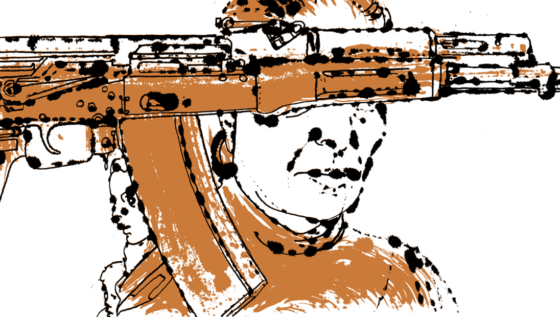 Illustration of a woman who has her eyes covered with a weapon