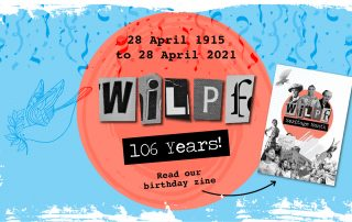 """Collage with the cover of WILPF Heritage Month's zine. Text """"28 April 1915 to 28 April 2021, WILPF 106 years - Read our birthday zine"""""""
