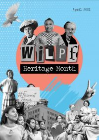 """Collage of black and white photos of women; text """"WILPF Heritage Month"""""""