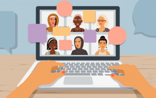 A computer screen showing 6 illustrations of women and speech bubbles