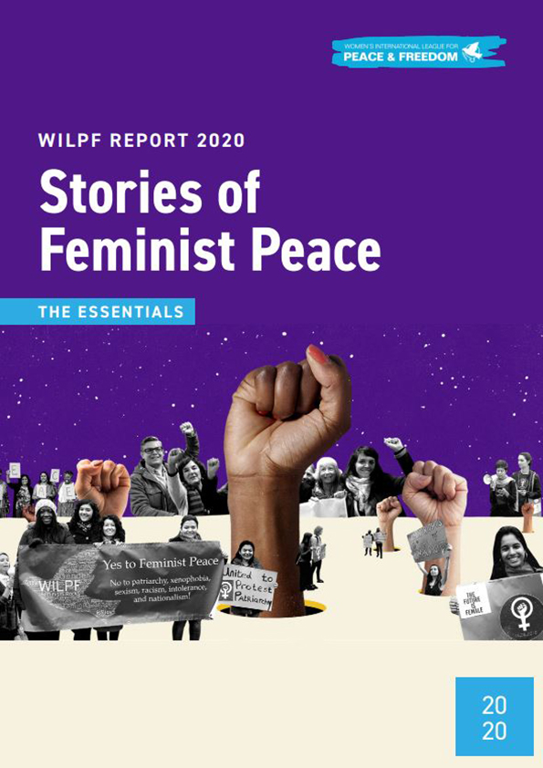 Cover of Stories of Feminist Peace: collage of photos of a raised fist and men and women manifesting for peace