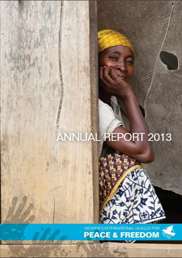 Cover of WILPF 2013 Annual Report - a black woman with a yellow headscarf hides a smile behind her hand