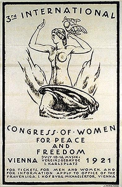 Poster with a woman personifying the statue of liberty, with dove