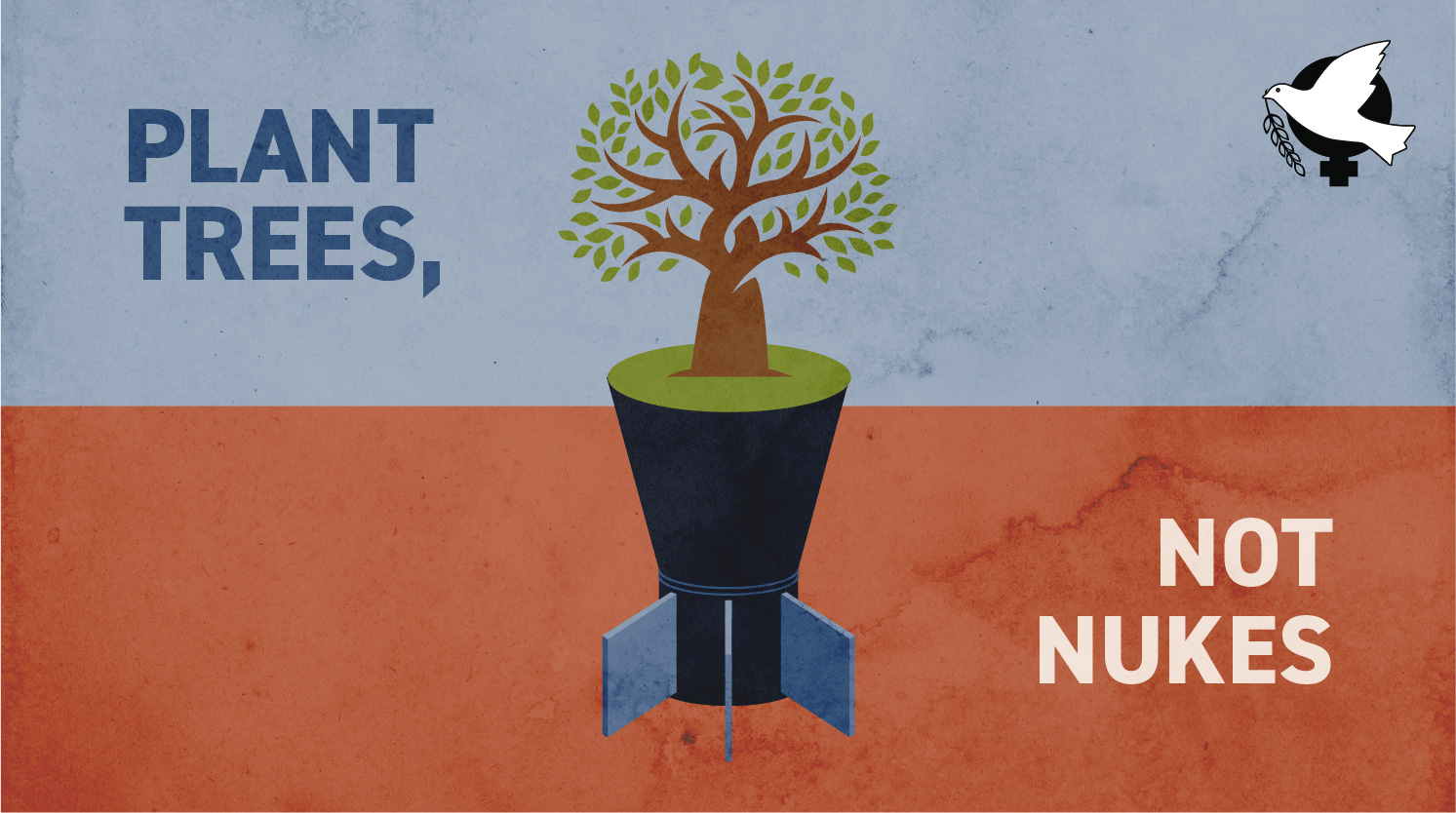 """image of top of tree on top of bottom of nuke. with the words """"plant trees, not nukes"""""""