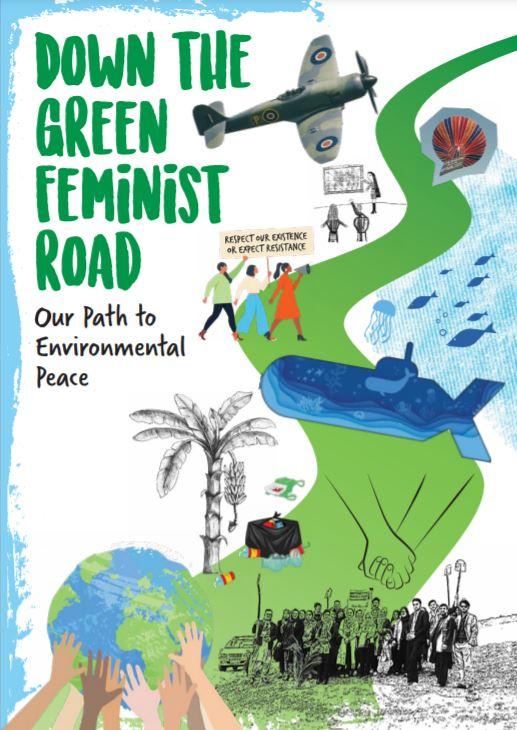 """Cover of the zine """"Down the Green Feminist Road"""", with drawing of green road"""